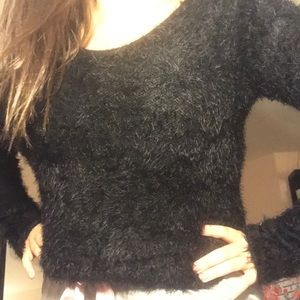 Black fuzzy sweater